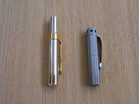 ペン型アロマディフューザーはペン型楊枝入れ(左)より小さい