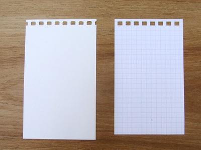 左が5×3ジョッターリフィルにパンチで穴をあけたもの。右がツイストリングノートメモリフィル