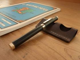 革のペン置き 2本用