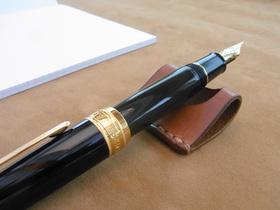 革のペン置き 1本用(茶)